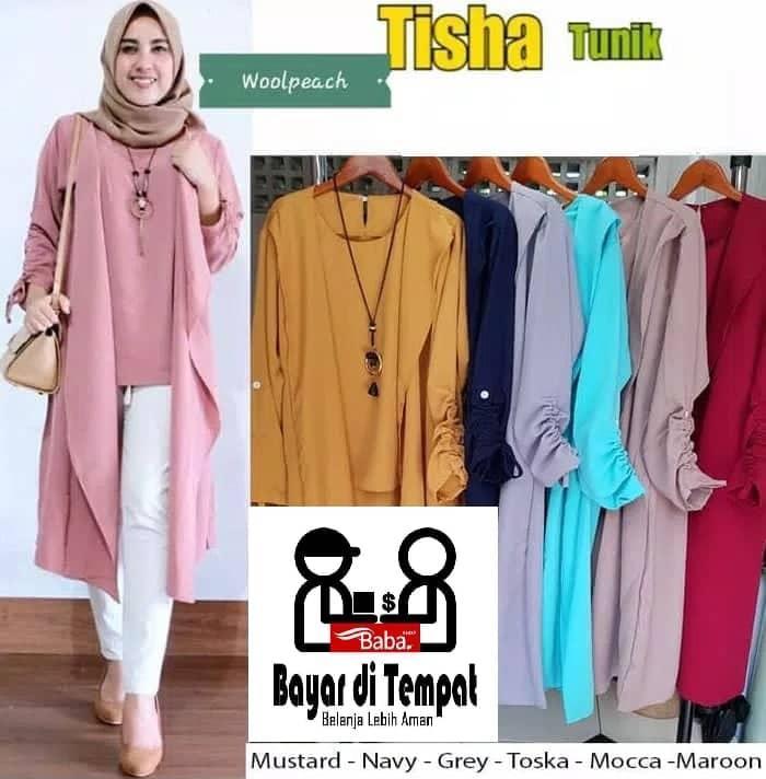 BaBa Baju Atasan Wanita TISHA TUNIK   Blouse Wanita   Baju Muslim Wanita   Tunik  Wanita 9fcd3322a1