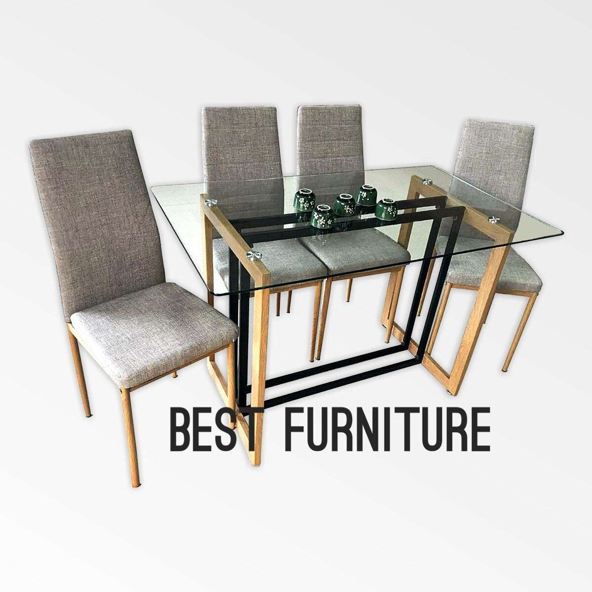 Best Furniture IMP-118 Meja Makan Set Minimalis uk 120x70 dan 4 Kursi - Abu 8423bf06f0