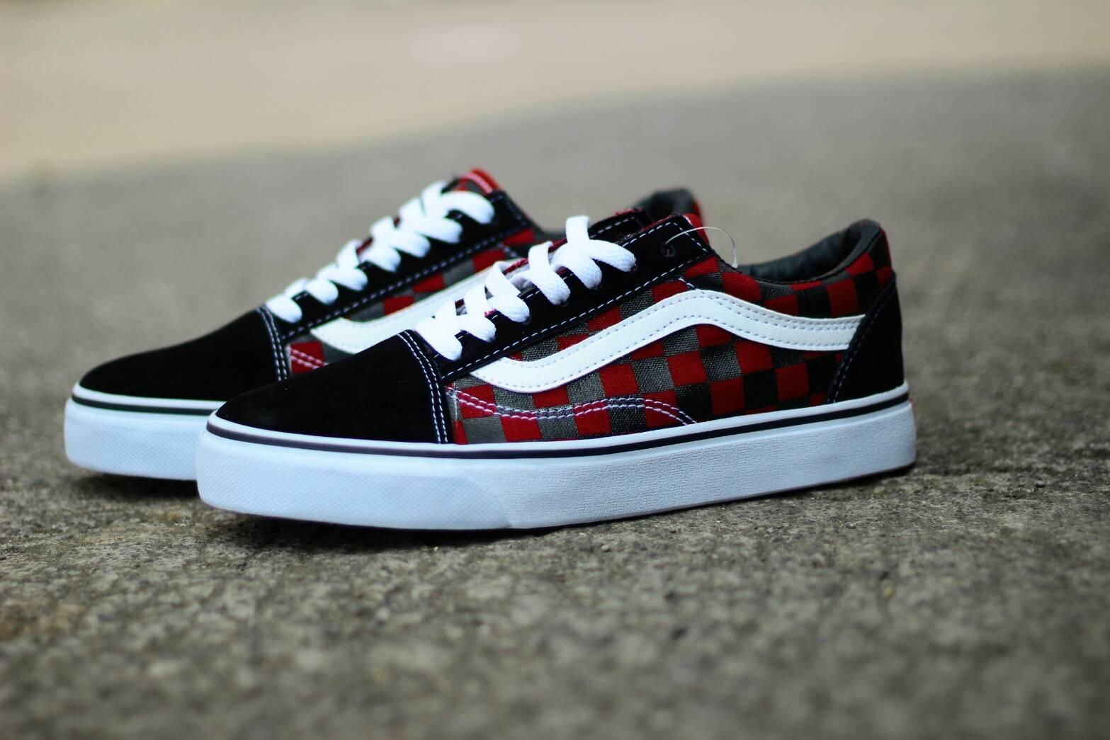 Promo Murah!!! Sepatu Sneakers Vans Old Skool Checkerboard Import Quality - Black White -