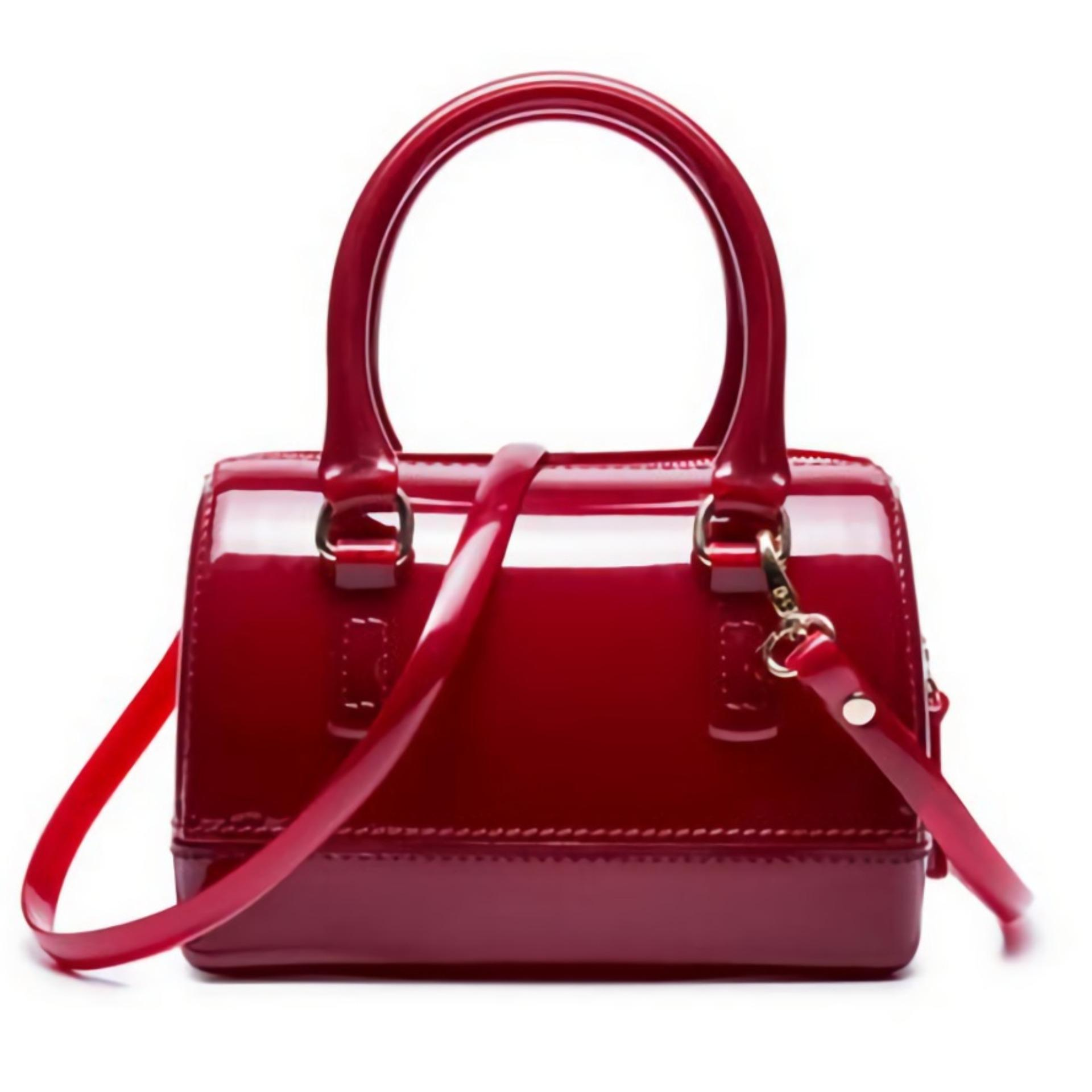 JCF Tas Fashion Anak Remaja Dan Dewasa Belle Jelly Sling Teenager And Adult Mini Candy Bag - Red Maroon