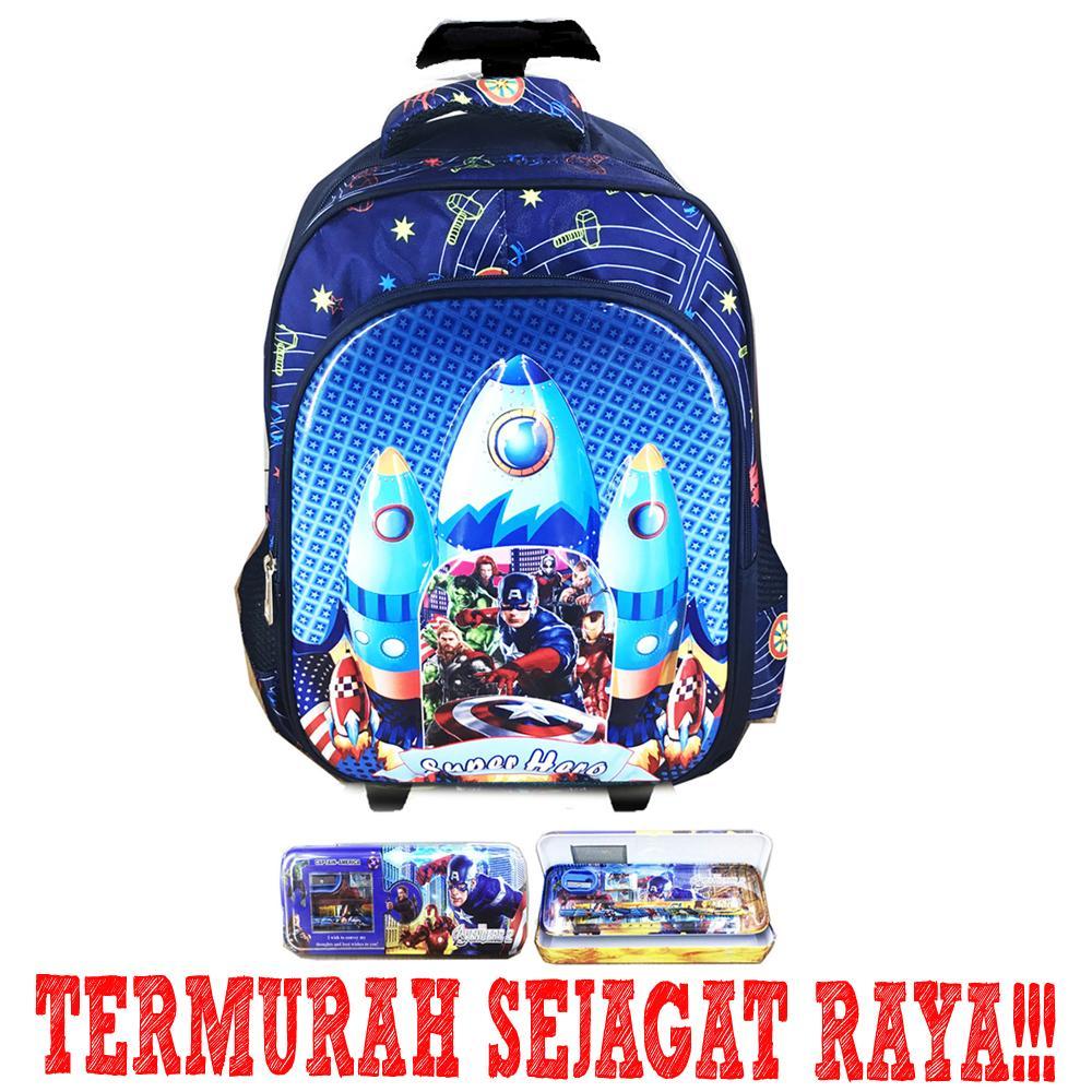 ... BGC Tas Troley Sekolah Anak SD Avenger Infinity War Astronot 6D Timbul IMPORT Kotak Pensil