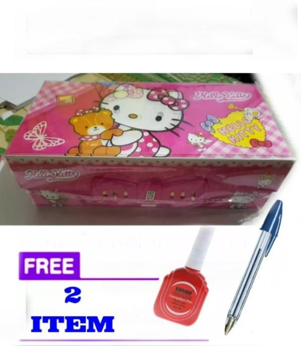 Kotak pensil karakter hello Kitty pink (cewek random)+free pulpen dan stip ex