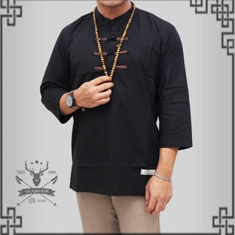 Kemeja Pria Muslim - Baju Koko Kerah Mandarin - Premium Cotton Cigarette