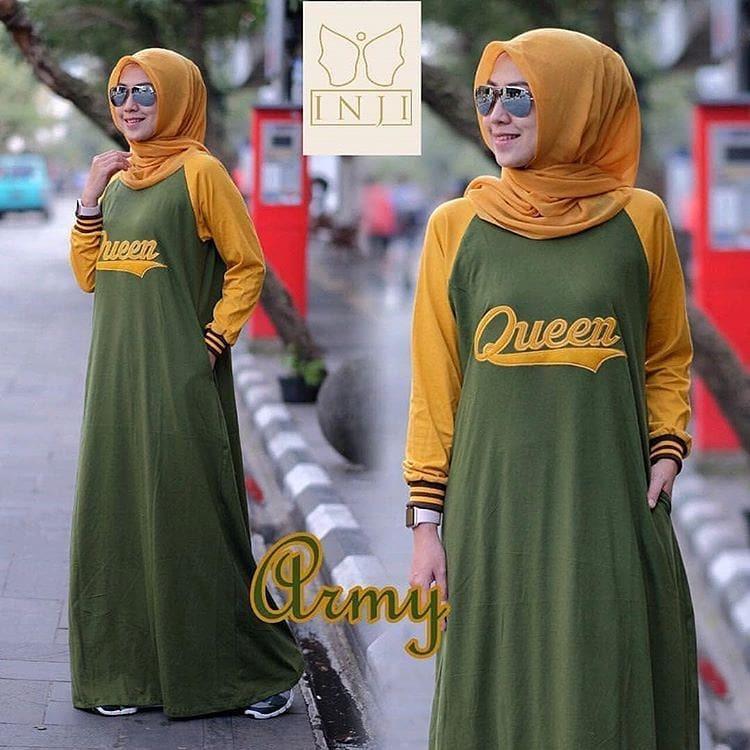 Queen #2 Dress Bahan Katun Combad Maxy Gamis Muslim Panjang Fashion Hijab Wanita Muslimah Pakaian Modern Fashionable Murah Terbaru