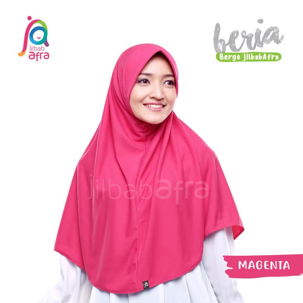 Jilbab Beria 15 Magenta - Bergo Jilbab Afra - Hijab Instan Bahan Kaos, Adem &