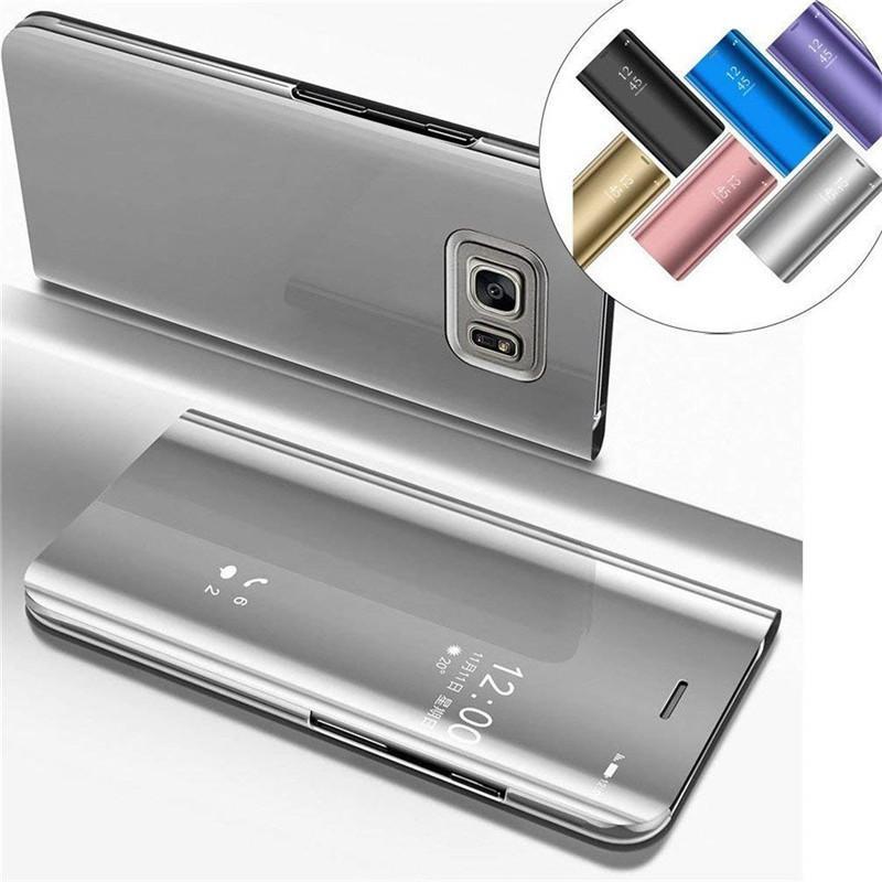 Untuk 【Samsung Galaxy Note 5】electroplated Cermin Pandangan Jernih Dudukan Flip Penutup Cakupan Penuh Tahan Guncangan Case