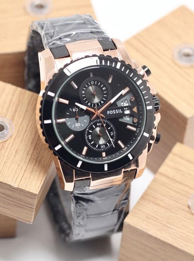 jam tangan pria / jam tangan pria original / jam tangan pria murah, jam tangan pria terbaru, jam tangan pria anti air / jam tangan pria 2018 / jam tangan pria terbaik / Jam Tangan Pria Fossil Chrono Aktif SK3491 Rantai Black Rosegold DISKON MURAH!!!