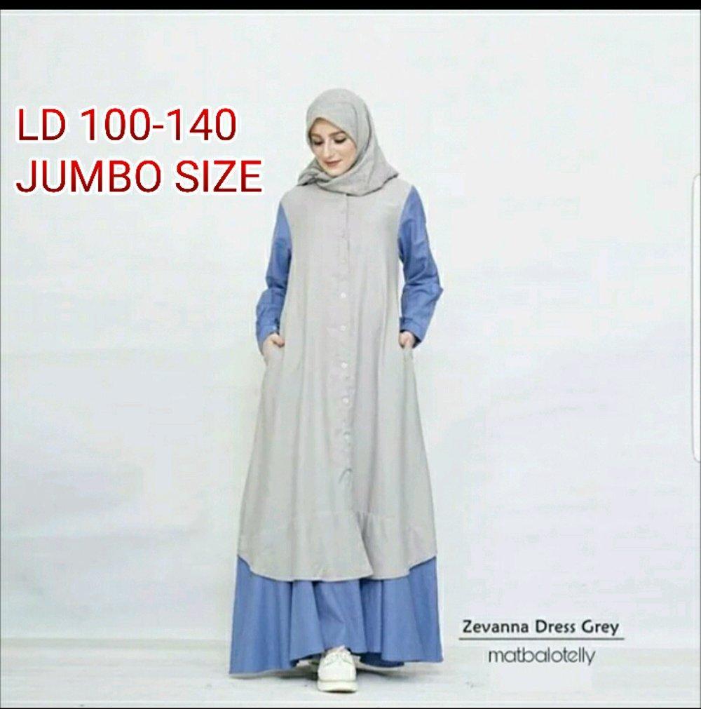 Gamis Jumbo Ukuran Besar sampai LD 135 Zevanna Dress yang Simple dan Elegan banget