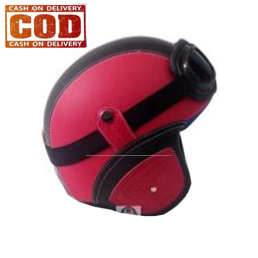 AchmadStore,Helm Retro Kulit Unik Klasik Kaca Mata ( Helm, Retro, Kulit, Clasic, Vespa) - Merah