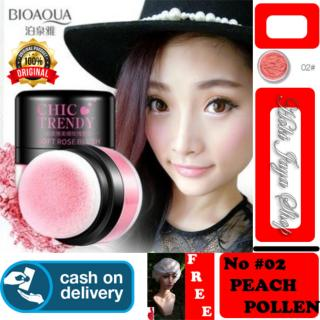 HOKI COD - 02 PEACH POLLEN - Bioaqua Original Perona Pipi CHIC TRENDY Soft Rose Blush On Powder Original + Gratis Shower Cap Putih - Premium thumbnail