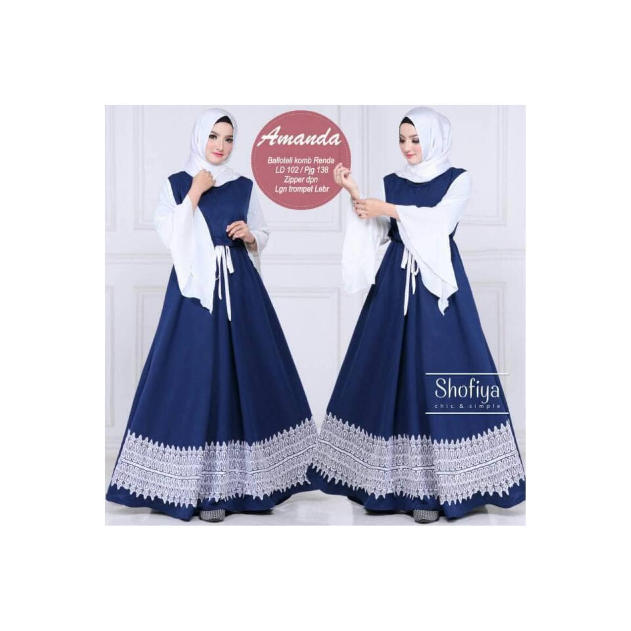 Dress gamis zaskia collection navy