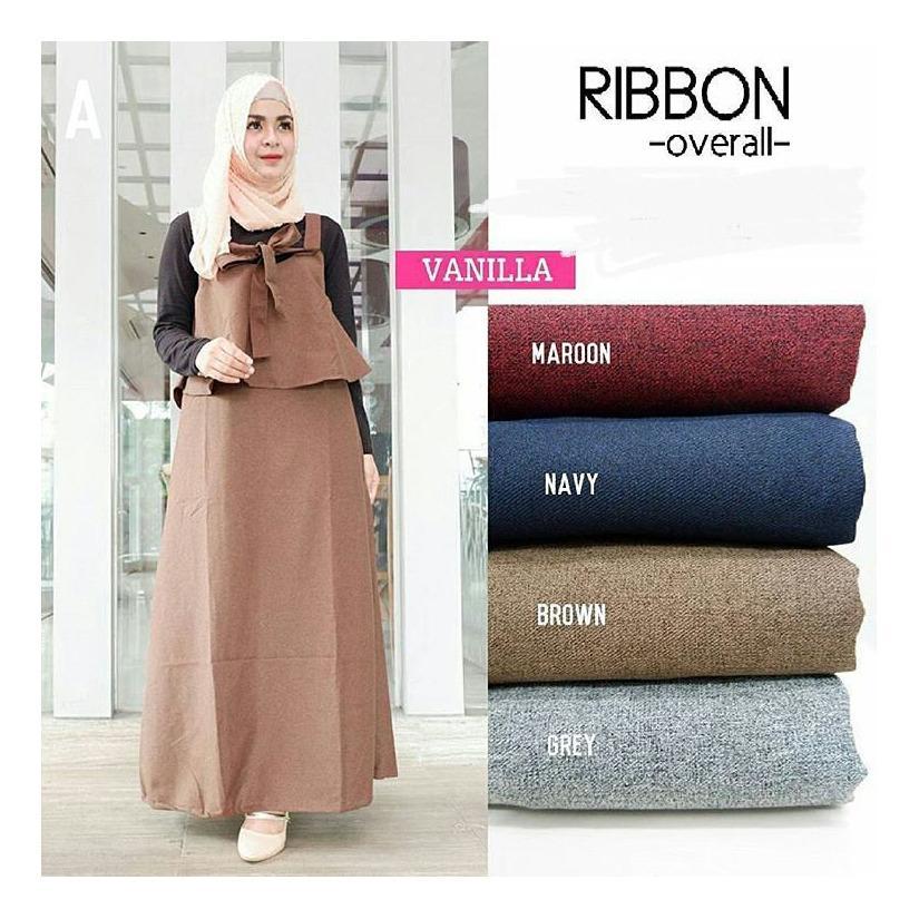 """Stelan Jumpsuite """"BC RIBBON""""  Baju Panjang Muslim Hijab Moderen Pakaian Trand Baru 2018"""