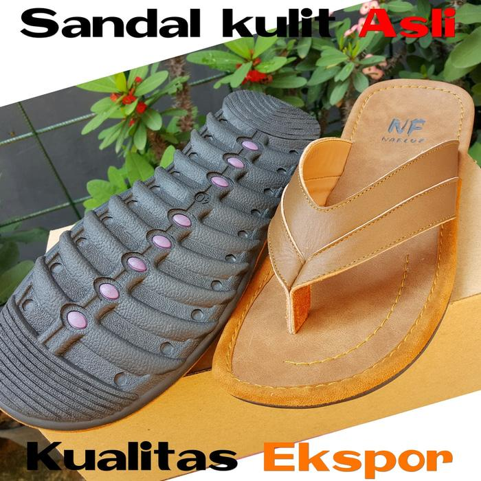 Best Seller!! Sandal Jepit Pria Kulit Sapi Asli Garut Grosir Cibaduyut Jogja Magetan - ready stock