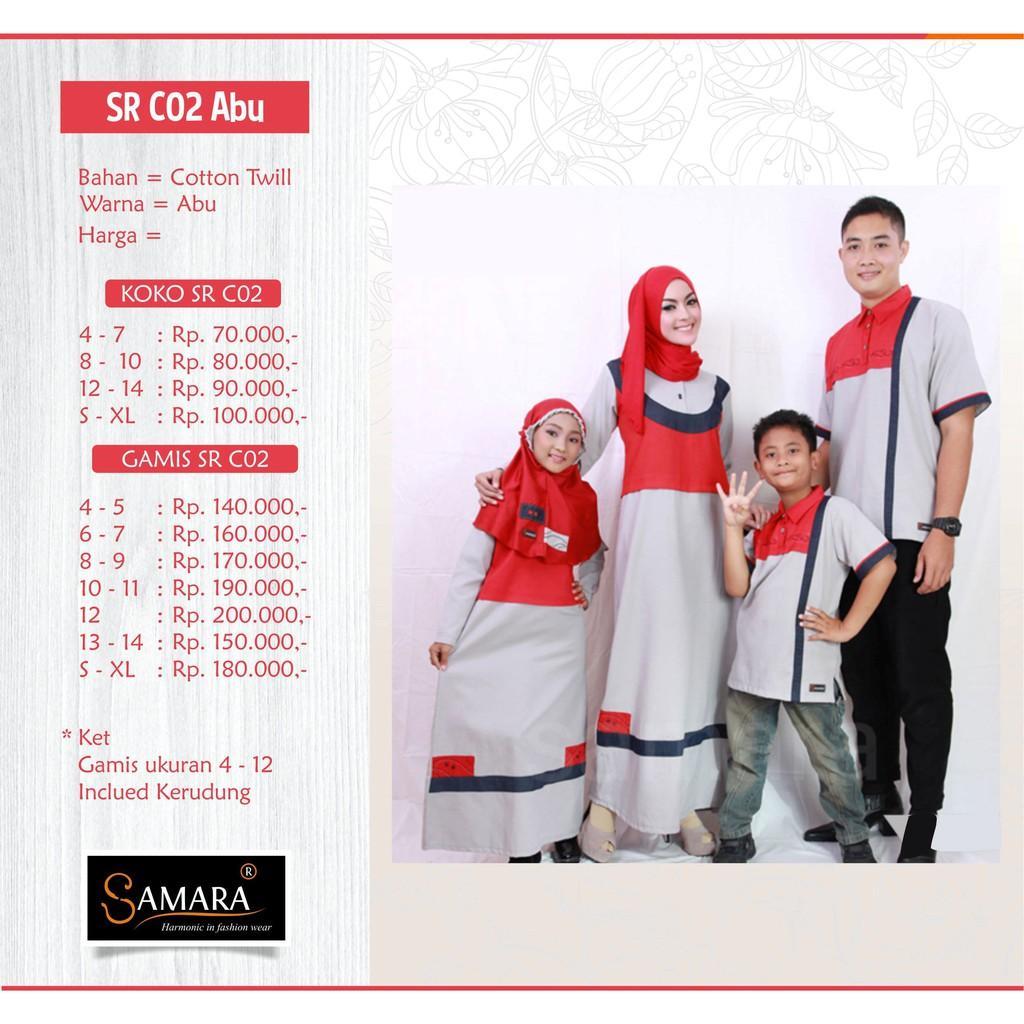 Baju Couple Keluarga Busana Muslim Sarimbit Gamis Syari Koko Lebaran Pria Anak Wanita / SAMARA C02 (Gamis S,M,L,XL)
