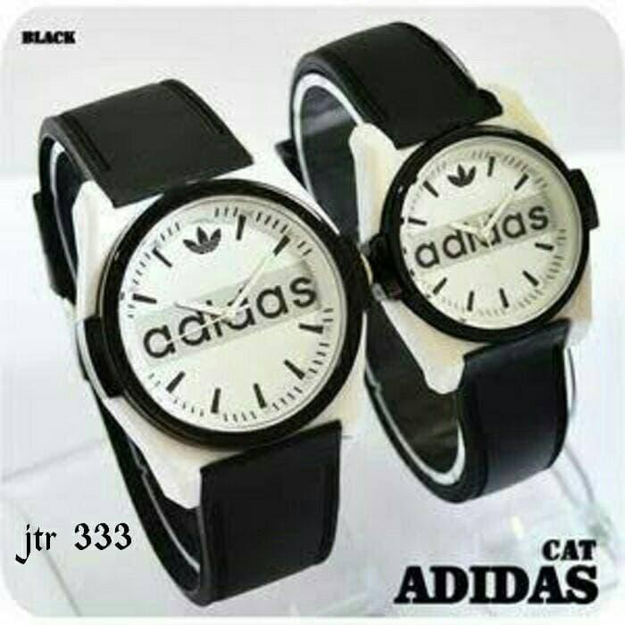 jam tangan couple adidas / jtr 333 hitam