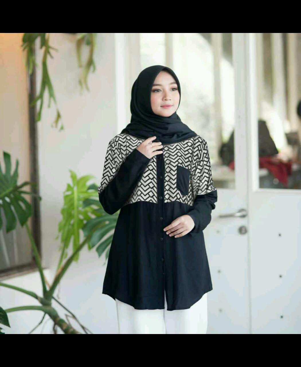 LT Kemeja Tunik Zigzag Katun Rayon Fit L LD 95 No Pashmina Blus kekinian Kemeja Panjang Baju Lebaran