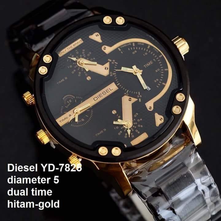 Jam tangan pria diesel rantai dual time kualitas super 61c1420ac0