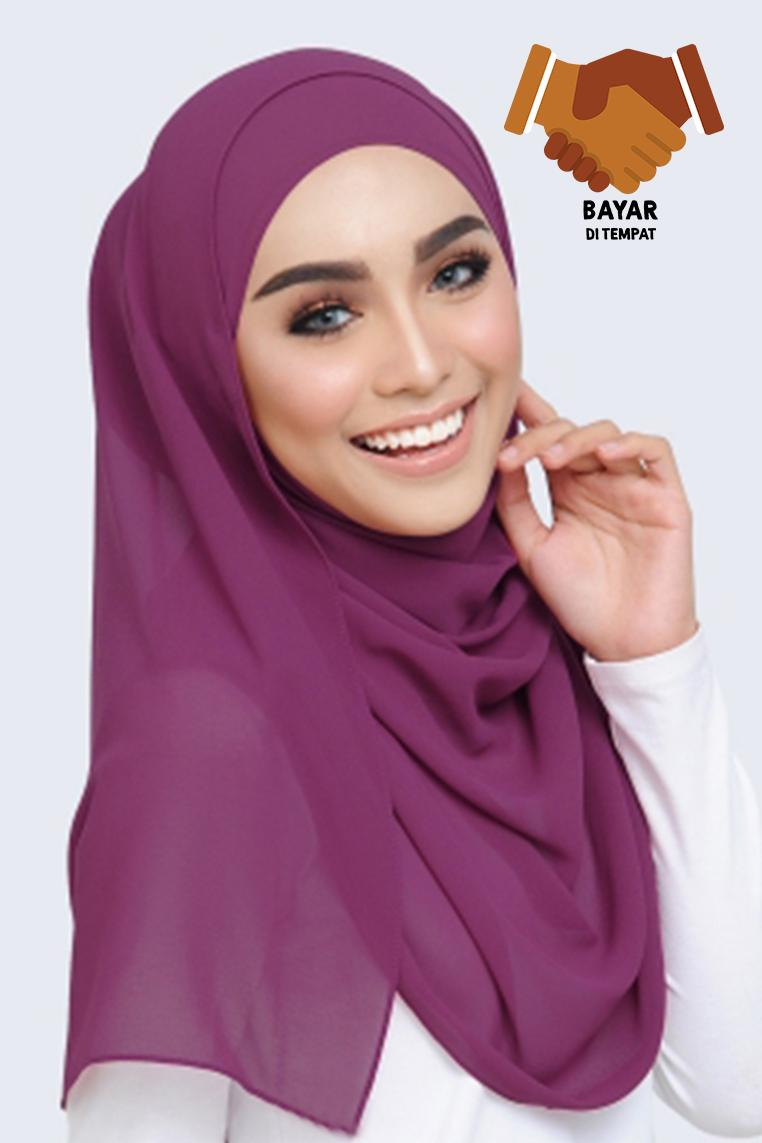 Cotton Bee Pashmina Regular Basic - Eggplant Purple