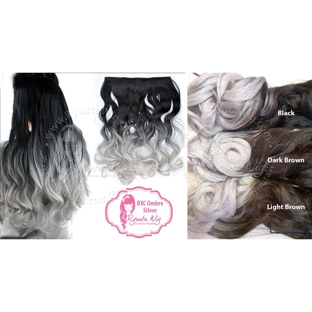 Hair extension clip CURLY OMBRE SILVER GRAY ABU hairclip keriting curl ombre Variasi GRAY -Lightbrown