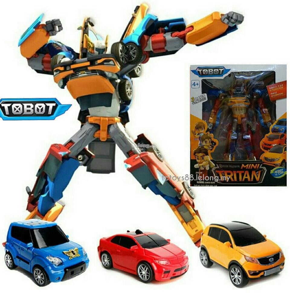 RKJ TOBOT TRITAN KEPALA GREY Ukuran Jumbo Mainan Anak Mobil Robot Transformer 3 IN 1 Kepala Abu Abu