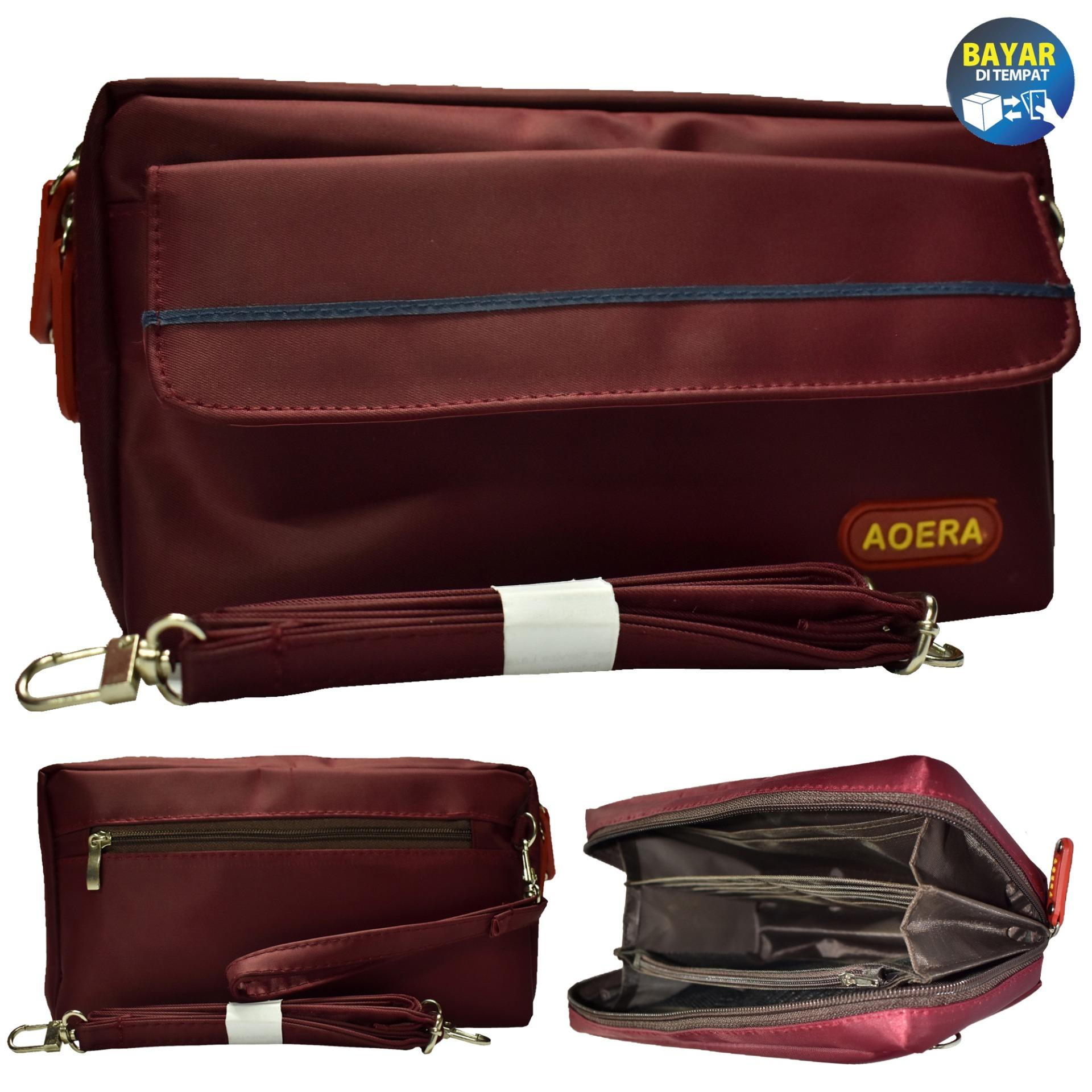 Tas wanita / Taswanita / Tas selempang wanita / Dompet Handphone / Dompet Hpo / Dompet hp / Slingbag Hpo Aoera  - Merah marun