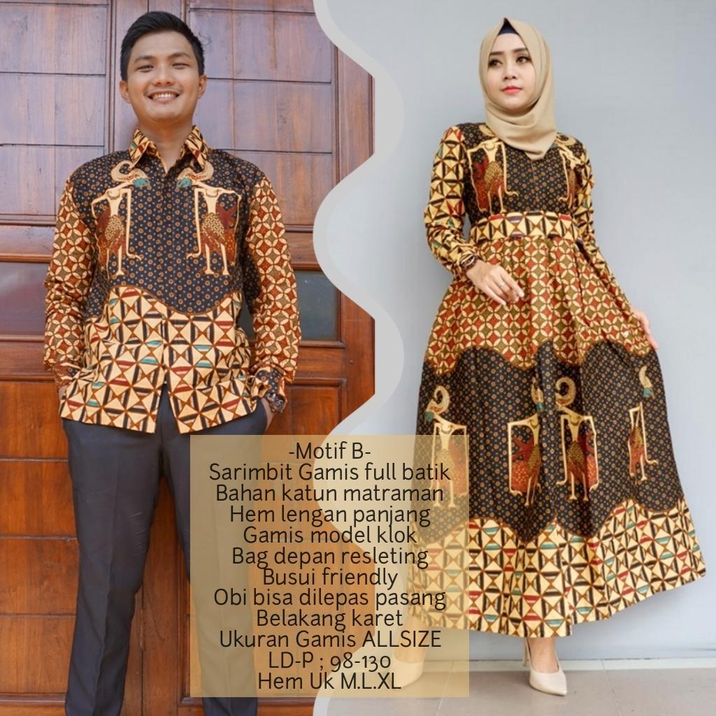 promo setelan keluarga baju sarimbit gamis batik keluarga terbaru bahan katun BSG623B