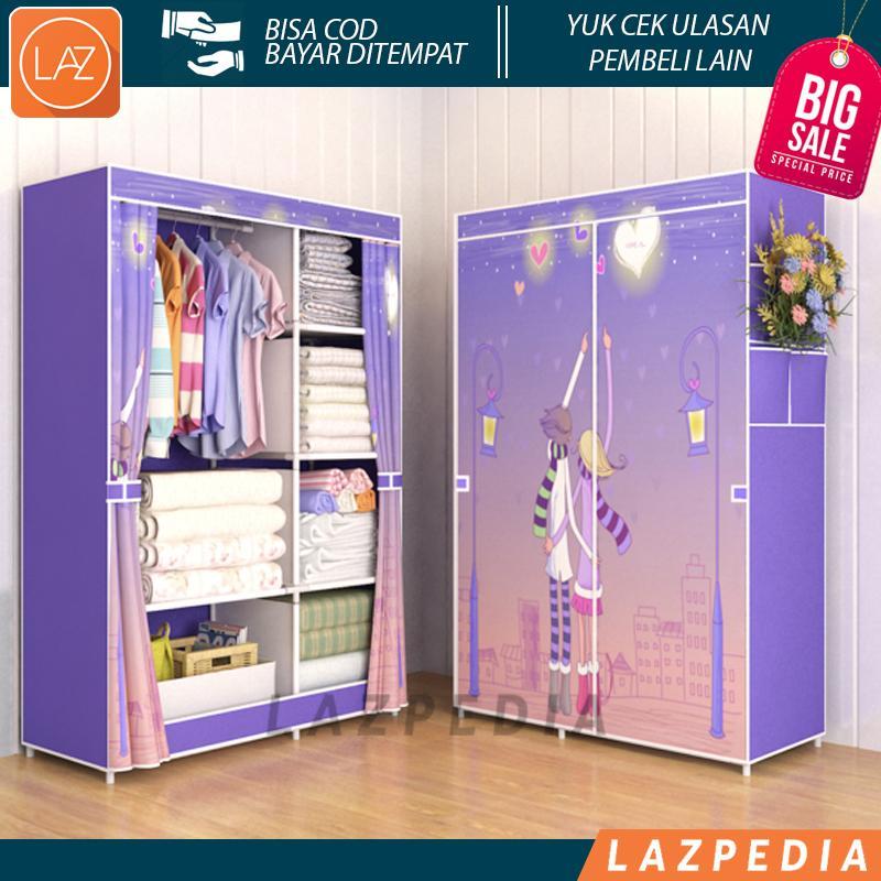 Laz COD - LOVE Multifunction Wardrobe / Cloth Rack With Cover Lemari Pakaian Ada Resleting Bahan Pipa Besi + Kain Non Wooven Fabric / Ungu - Lazpedia A72