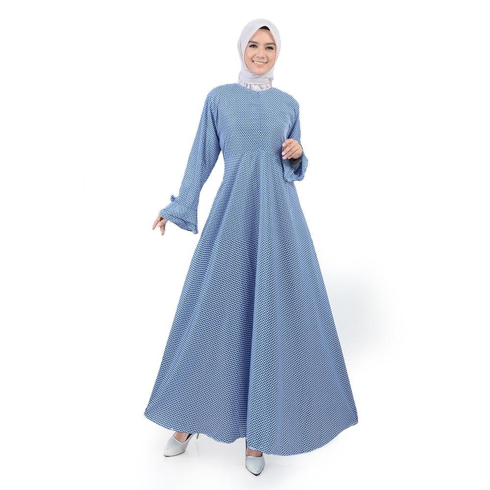 Jfashion Long Dress Gamis Maxi variasi seleting depan - Salsabela