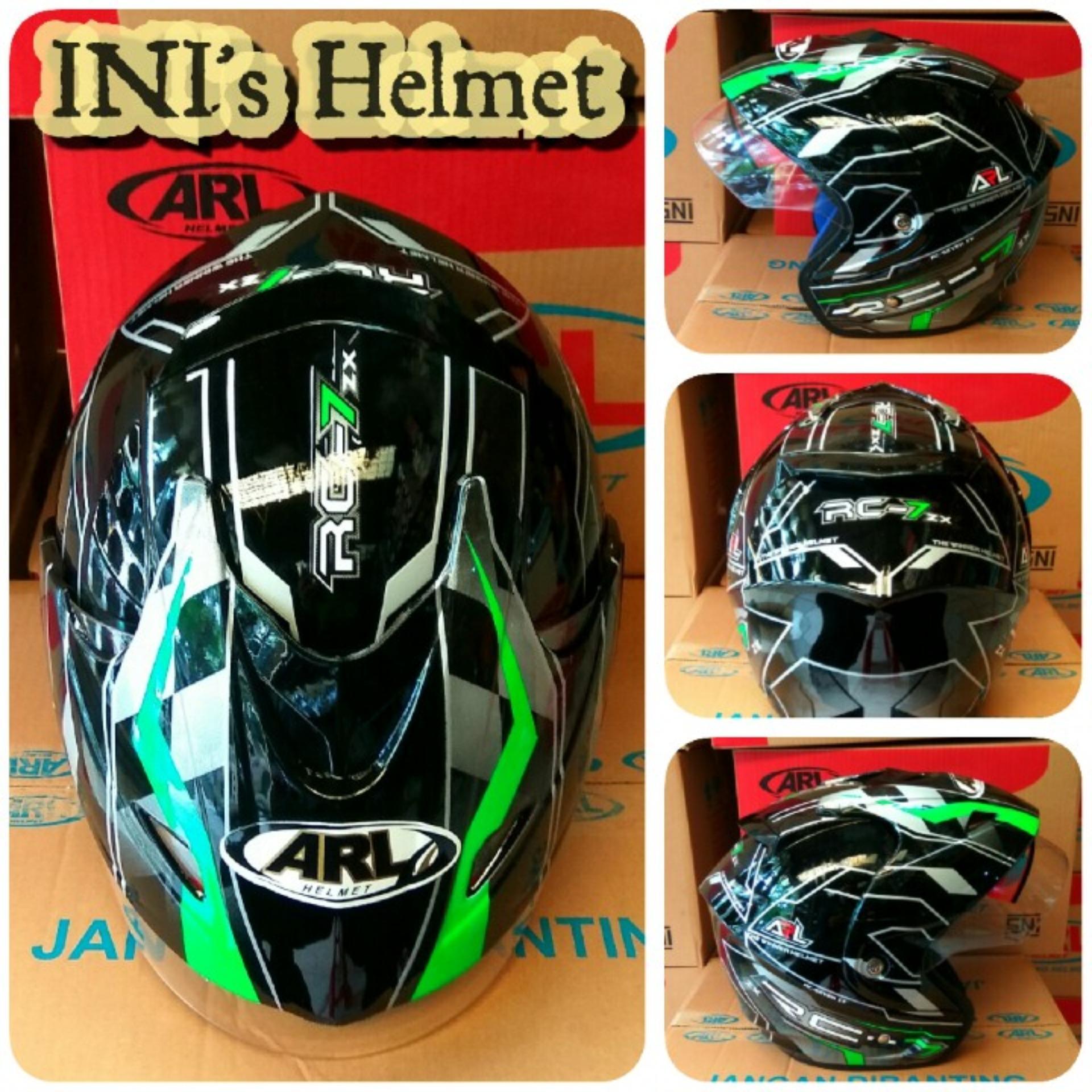 PROMO ARL Helmet Murah berkualitas SNI motif RC7 ( LAGI PROMO ) [ BLACK ]