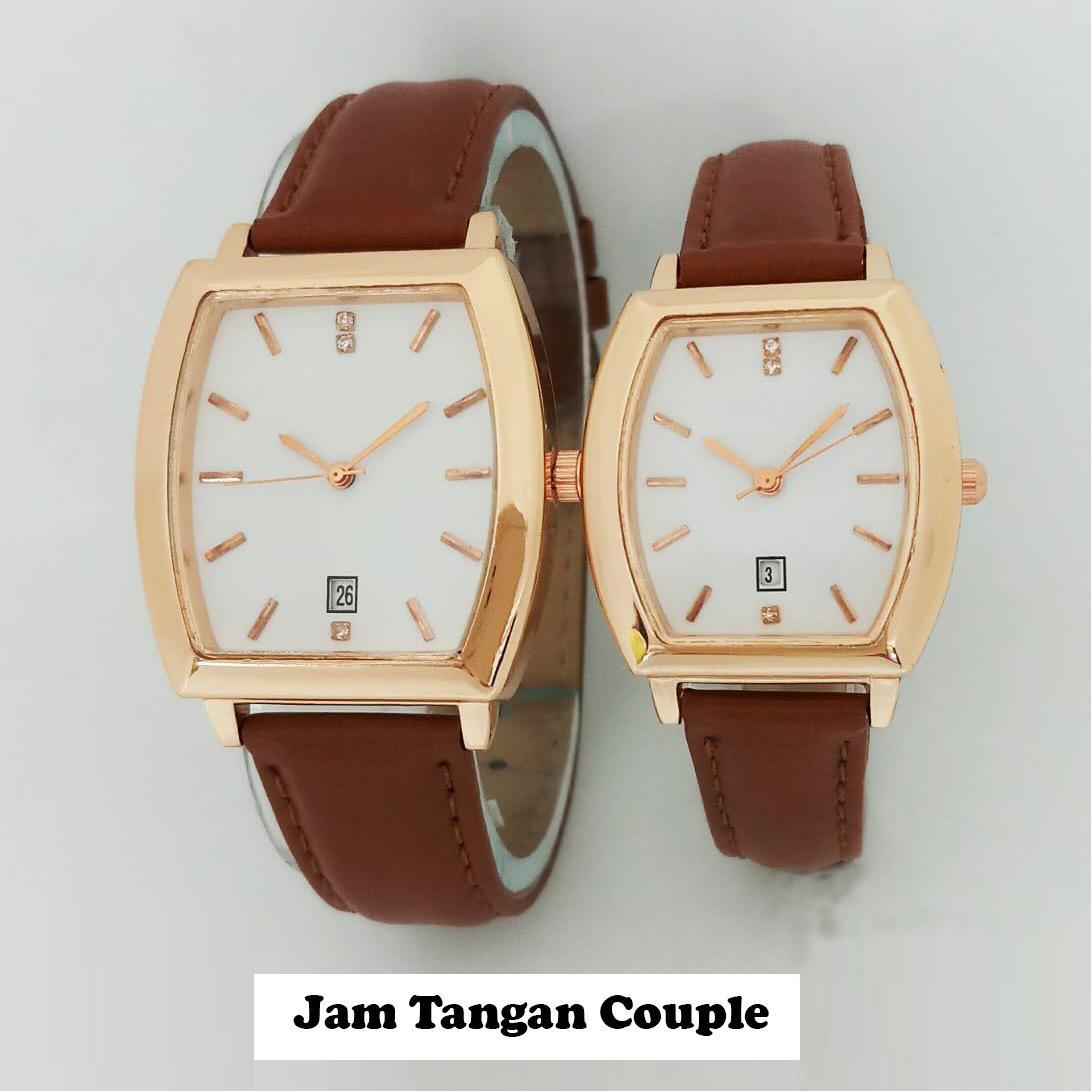 Jam Tangan Couple Pria dan Wanita Strap Kulit PU Men Women Stainless Steel Leather Couple Watch
