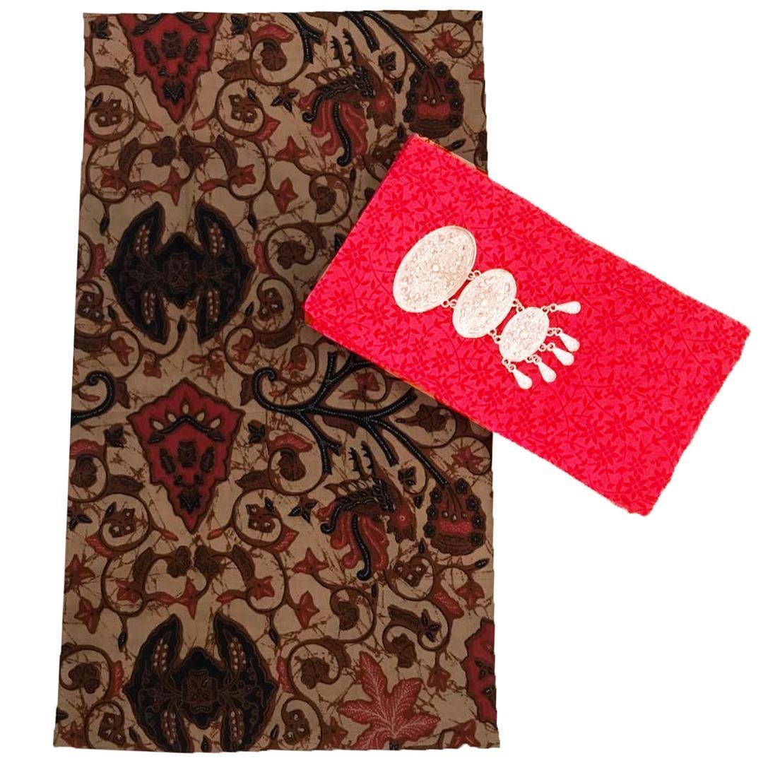 Kain Batik halus dan Kain Embos (Satu Set), Bahan Batik untuk Kemeja, Blus, Kebaya dsb. (KBKE001-22A) Batikalhadi Online