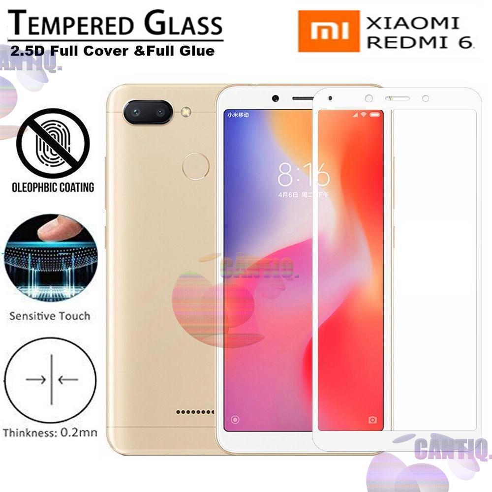 Tempered Glass Full Screen White Xiaomi Redmi 6 9H Screen Anti Gores Kaca / Screen Protection