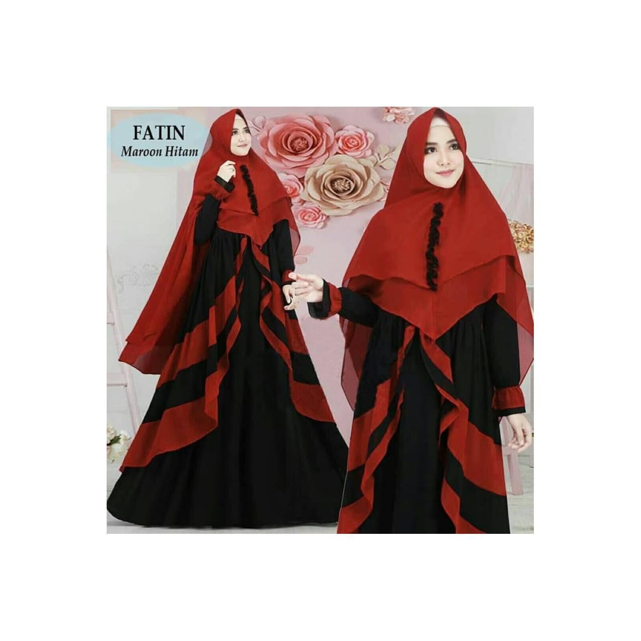 Gamis syari terbaru Fatin Maroon Hitam(konveksi,suplayer,murah)