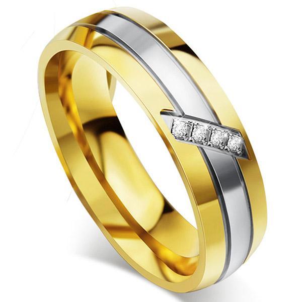 Vnox Trendi Cincin Pernikahan 316L Baja Anti Karat Logam CZ Batu Zirkon Perhiasan Jari-Intl