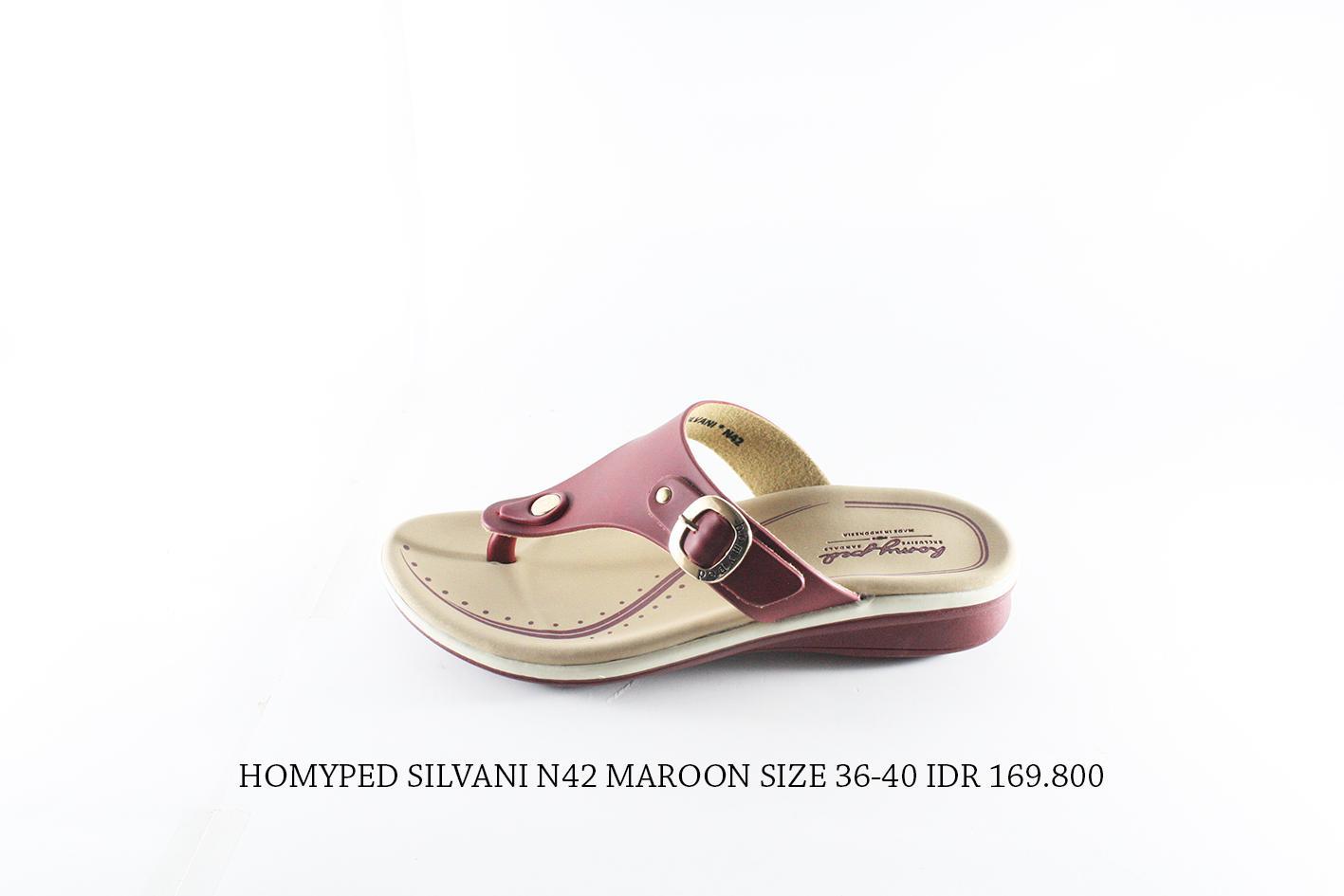 homyped silvani n42 sandal jepit wanita maroon