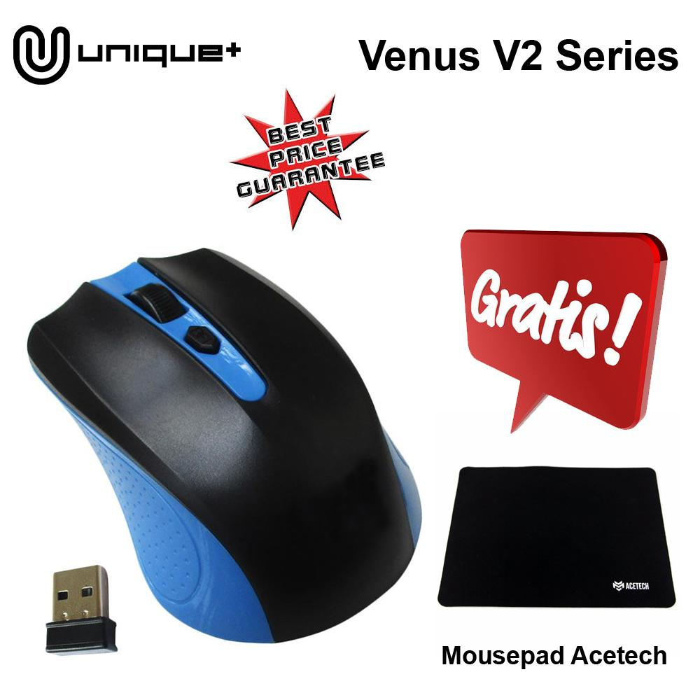 Unique Mouse Wireless Standar 2.4G For Komputer Laptop PC Venus V2 FREE MOUSEPAD ACETECH