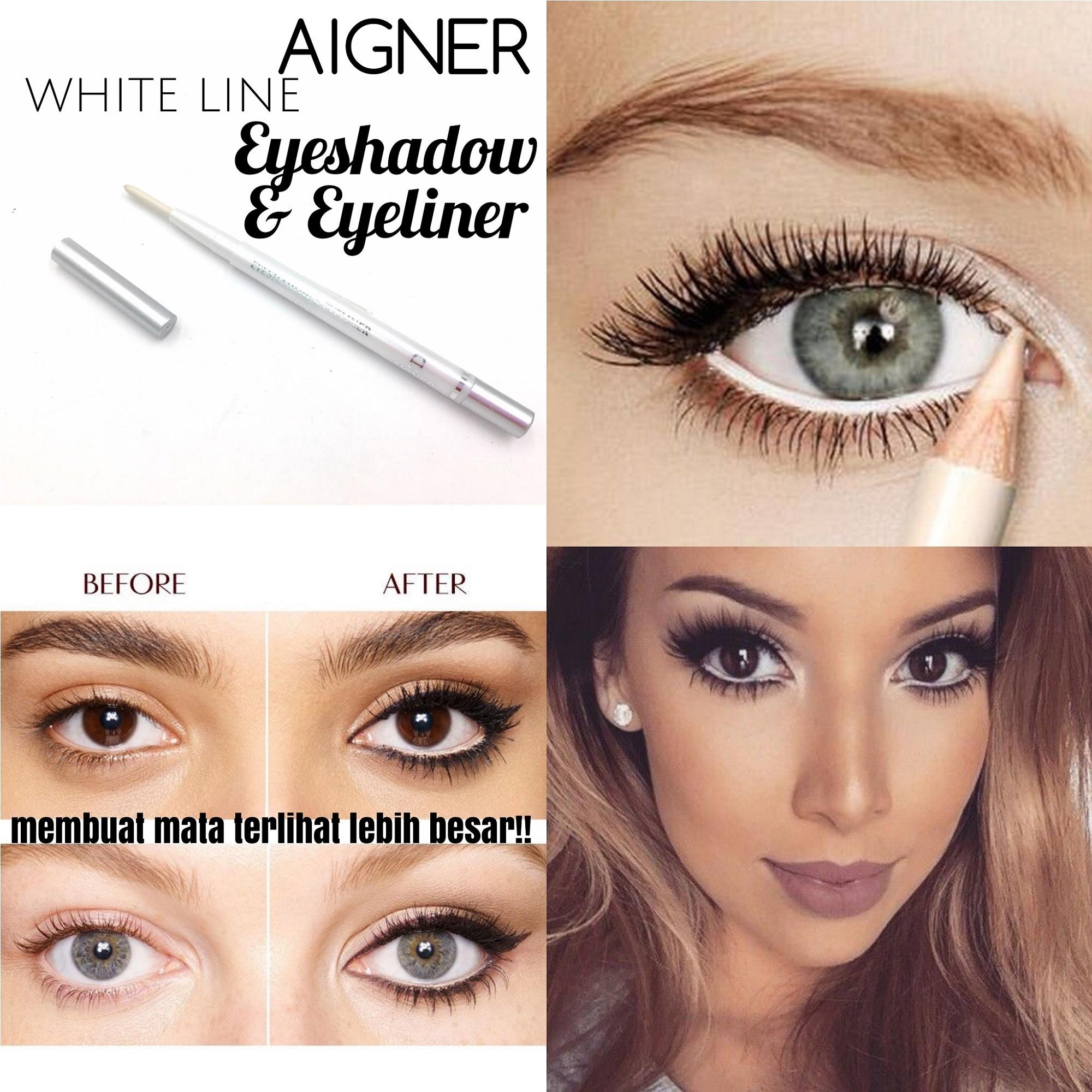 [WHITE] Aigner White Line Eyeshadow & Amp; Eyeliner 2in1 Pencil / Pensil Garis Mata/ Pensil Eyeline