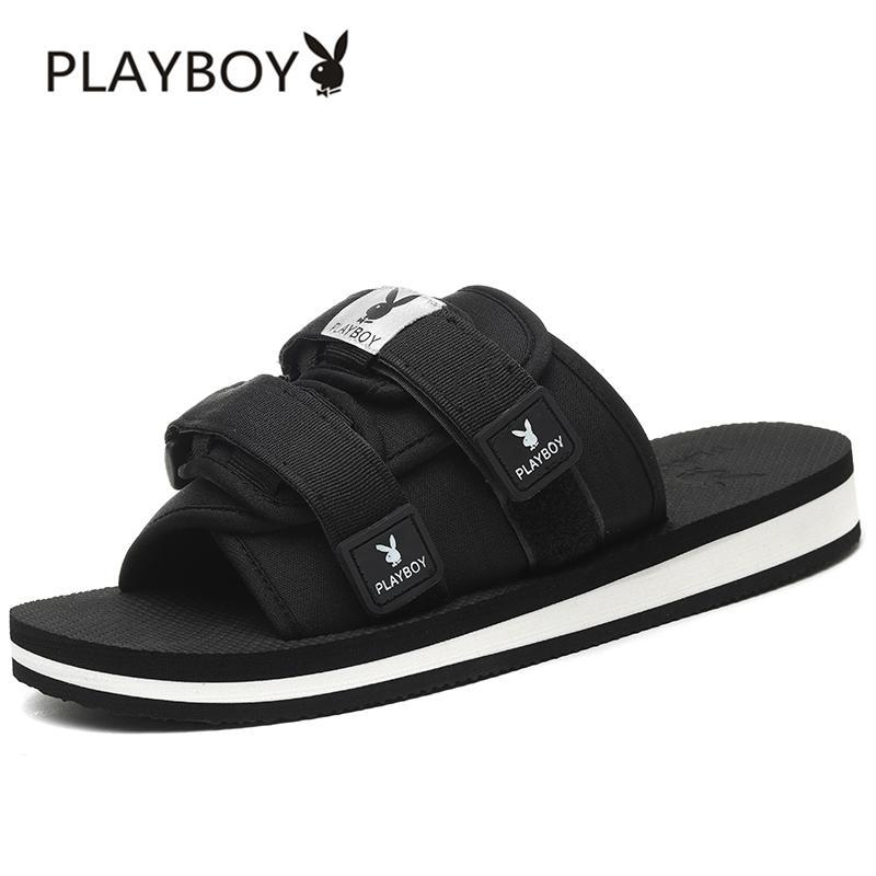 Playboy Sandal Musim Panas Laki-laki Kayu Cendana Pantai Tren Non-slip (8AX006081 Hitam)