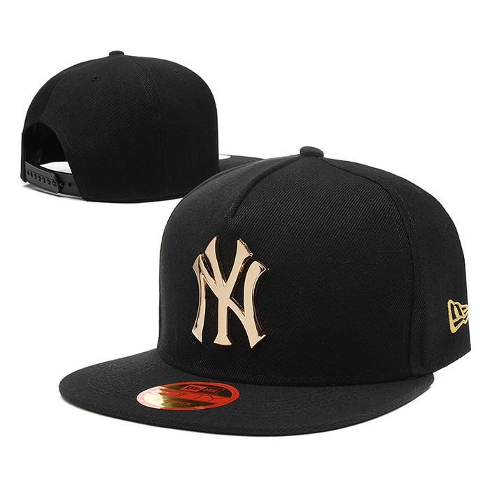Topi Snapback New York Yankees Ny Hitam Emas Gold Metal New Era Import - W6tjk9