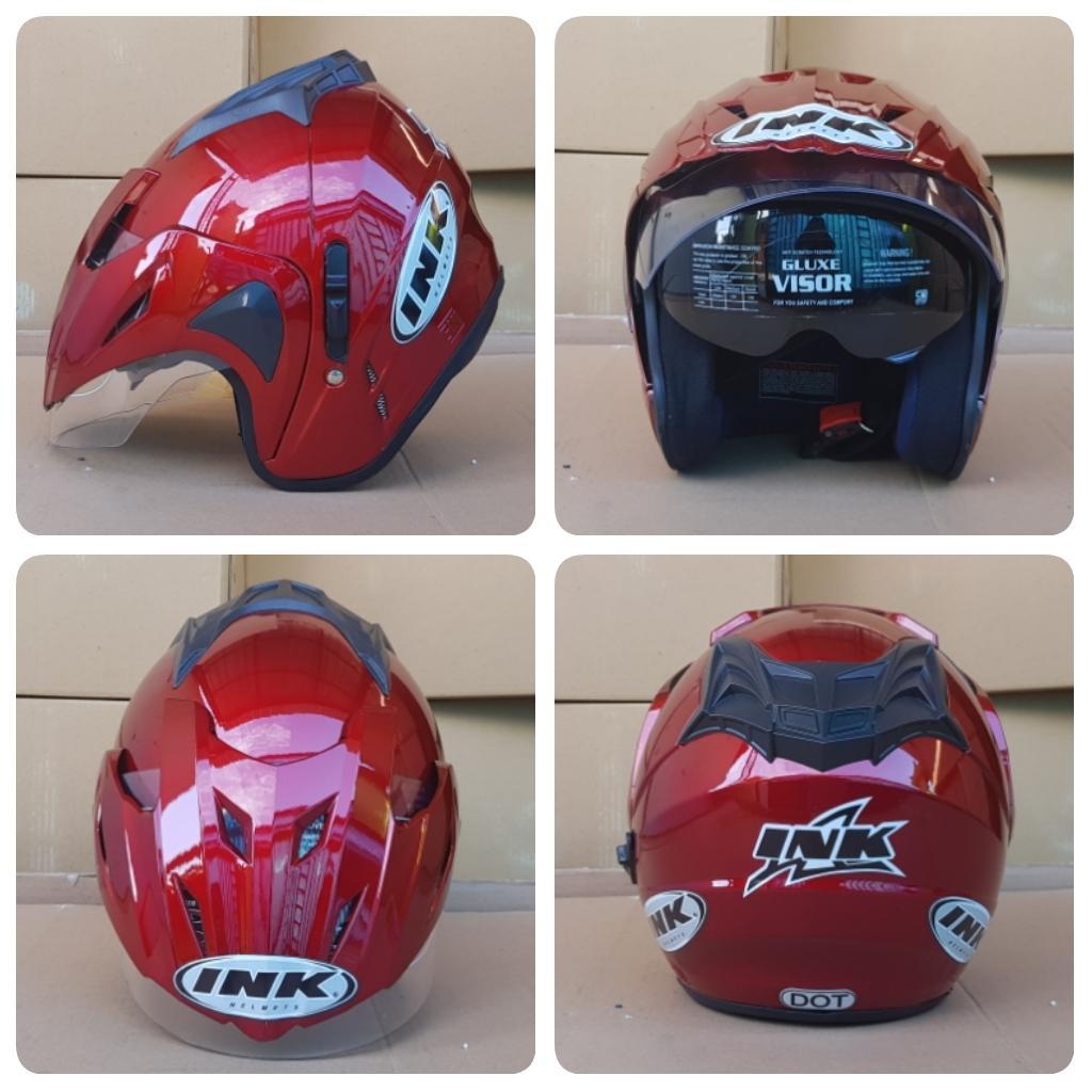 Helm dewasa helm ink t1 double visor merah maron harga merakyat untuk pria dan wanita boming