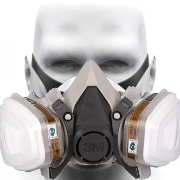 Terbaru - Safety Half Face Respirator Gas Mask Masker Cat Spray 3M 6200 - ready stock