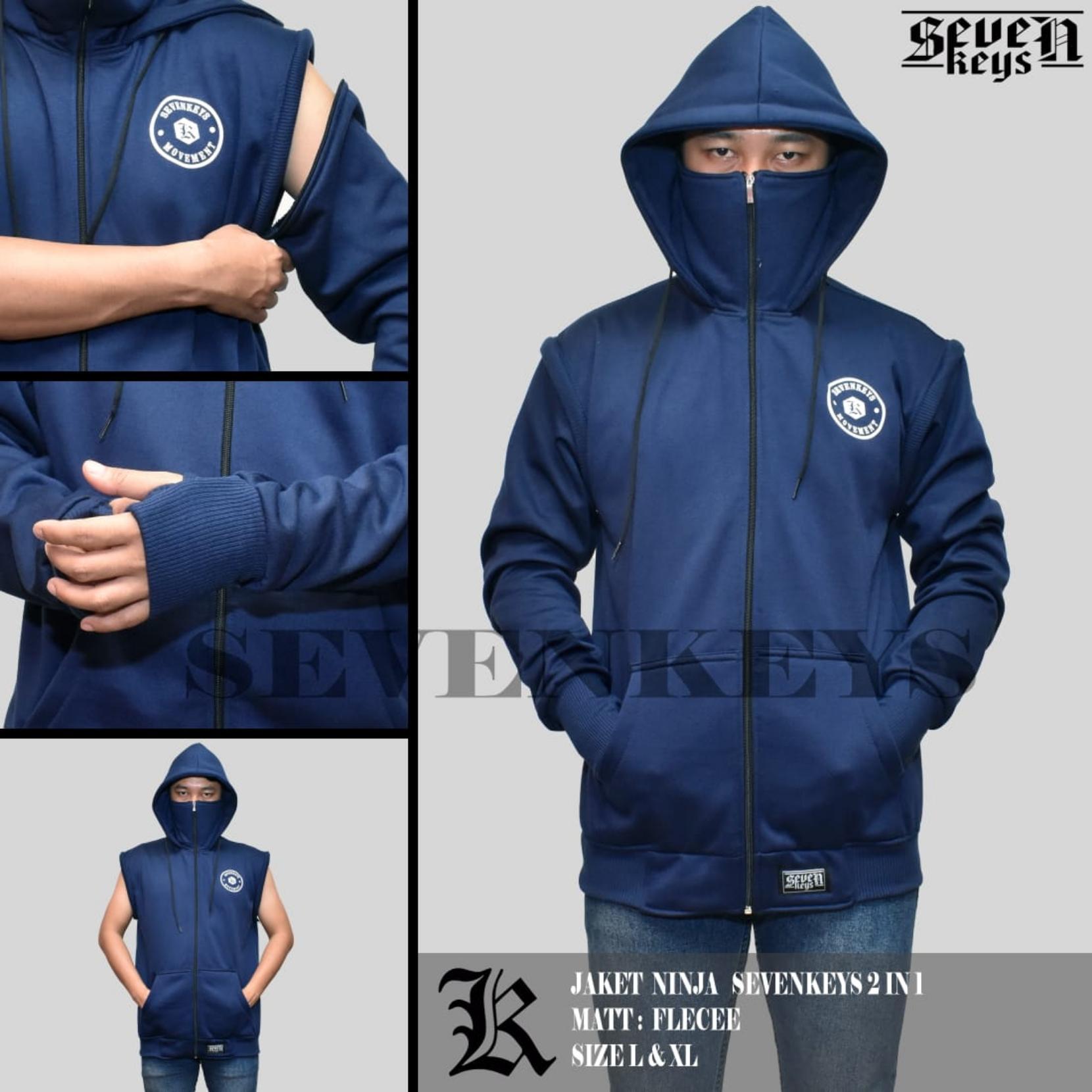 Jaket Hoodie Pria Terbaru Terlengkap Zipper Polos Keren Biru Kz7 Sweater Ninja Seven Keys Sablon 2 In 1
