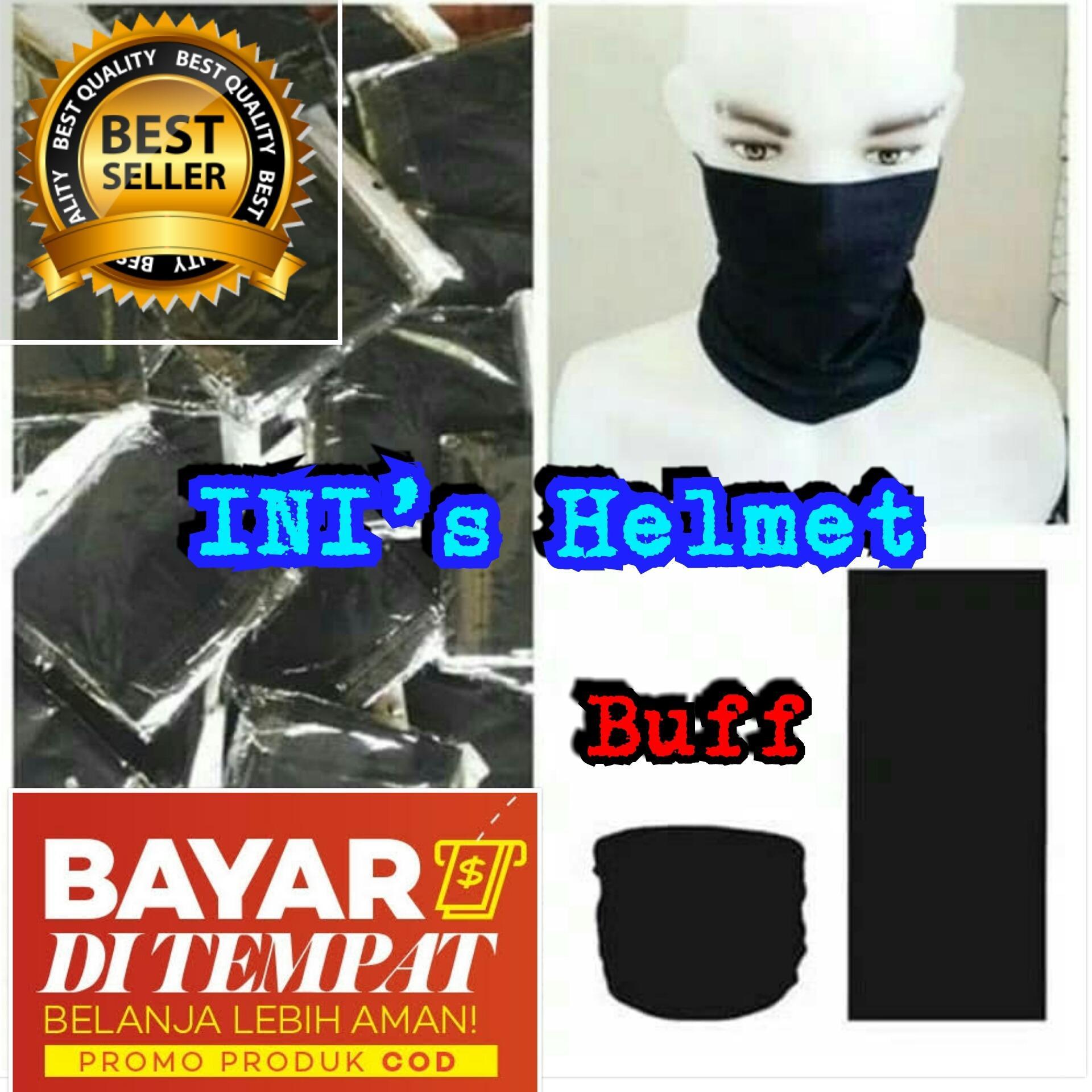 Masker Buff Hitam Polos Tanpa Jahitan - Masker Multifungsi