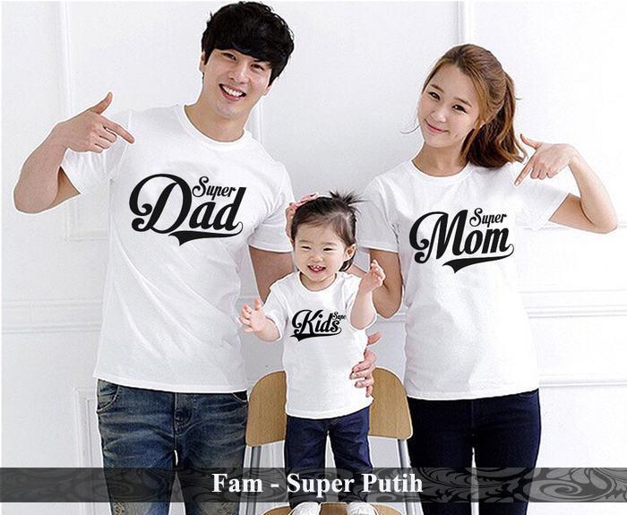BajuCouple baju couple family kaos pasangan terbaru Baju Keluarga Super [putih]
