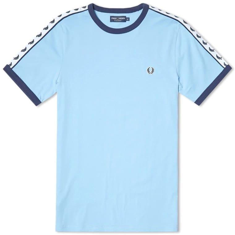 Kaos Fred Perry Taped Ringer Tee Blue Sky - Premium Quality