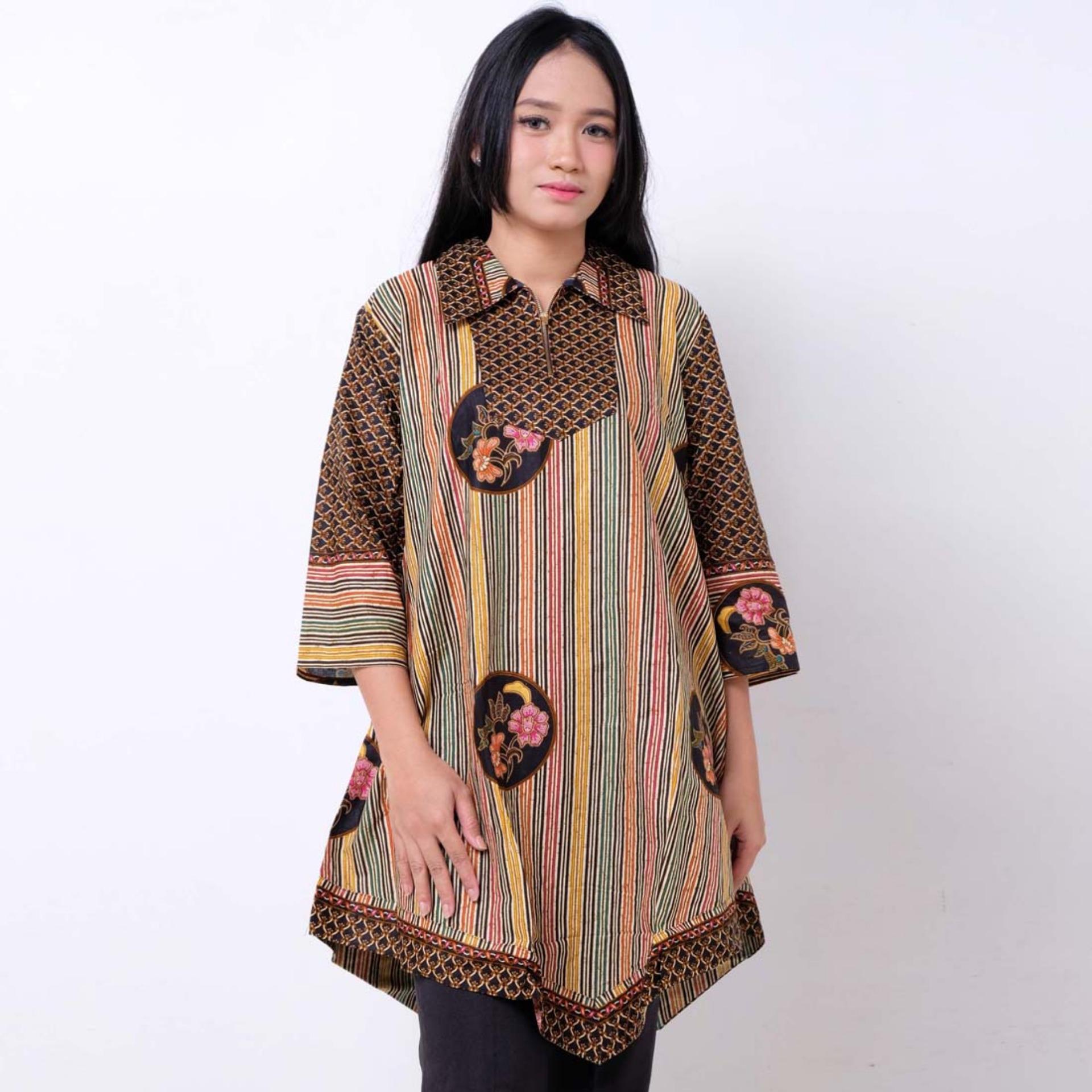 Batik Distro Ba9388 Blus Wanita Lurik Warna Coklat