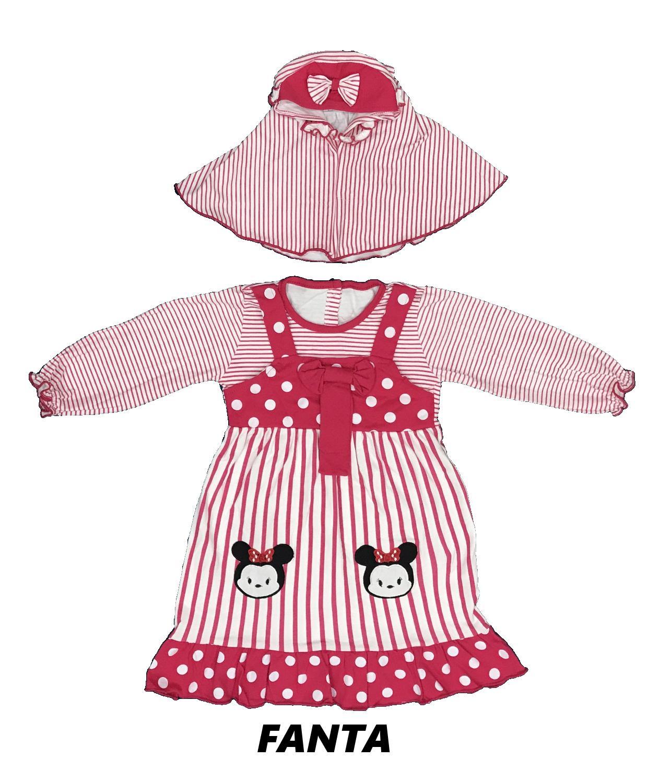 BAYIe - Baju Muslim Dress Bayi/Anak Perempuan motif Tsum-Tsum / Gamis anak cewek umur 1.5 - 3 tahun