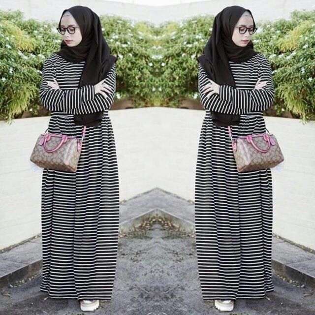 (DM) Baju Gamis Muslim Wanita Athina Stripe (Tanpa Hijab) Konveksi Tanah Abang