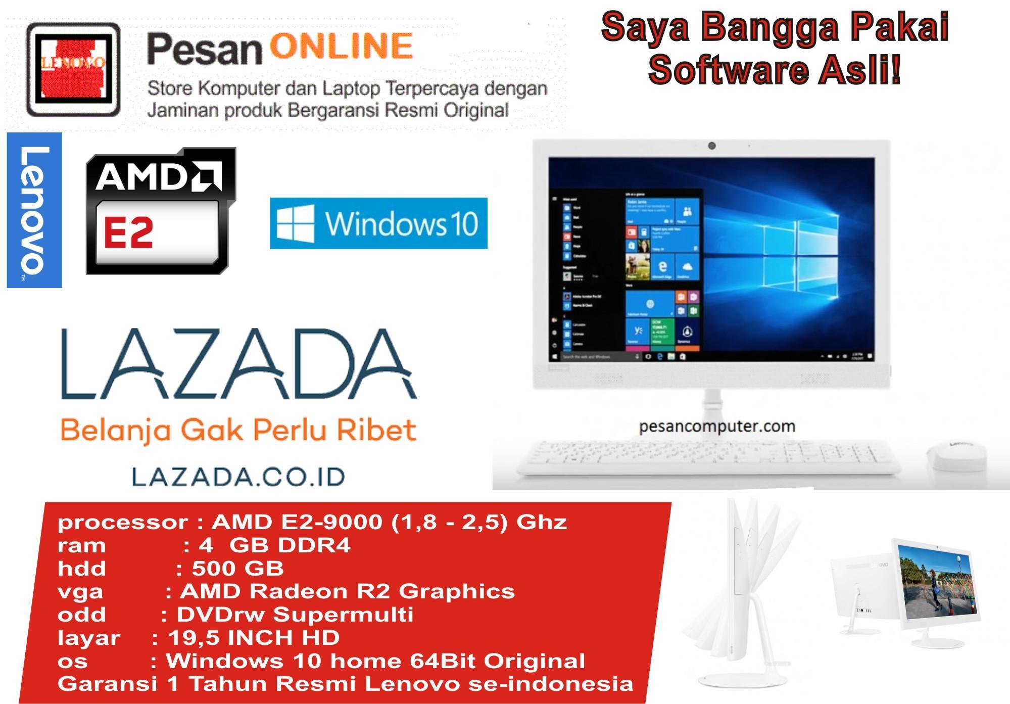 Lenovo AIO 330- AMD E2-9000 QUAD CORE F0D8001GID Desktop PC - Putih [19.5 Inch/ 4GB/ 500GB/ Win10] Garansi Resmi Lenovo Indonesia