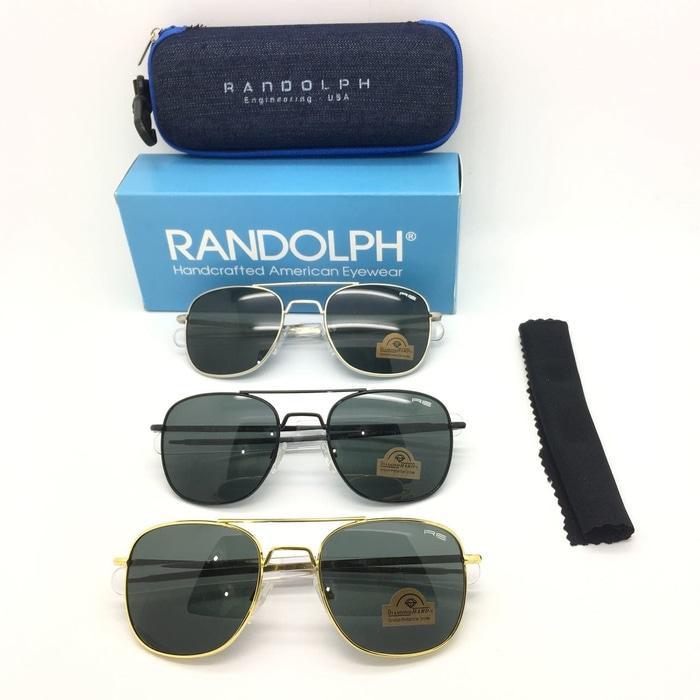 DISKON Kacamata Randolph Lensa Kaca Sunglass Pria Wanita Hitam Silver TERMURAH